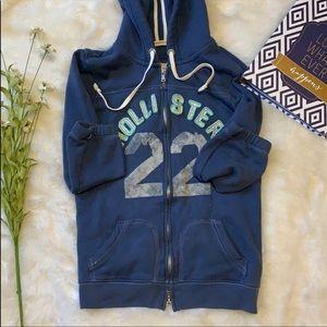 🦃Hollister blue zip up 3/4 sleeve hoodie size m